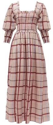 Ganni Checked Cotton-blend Dress - Womens - Pink