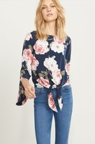 Dynamite Tied Floral Blouse with Bell Sleeves