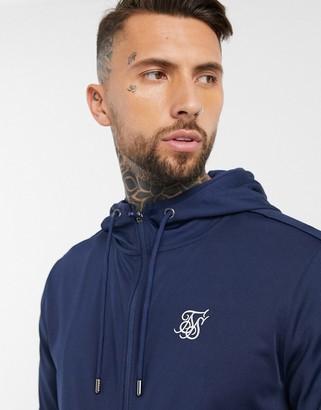 SikSilk agility zip through hoodie in navy