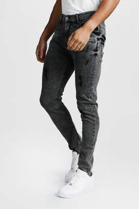 BoohoomanBoohooMAN Mens Grey Super Skinny Zip Detail Jeans With Raw Hem, Grey