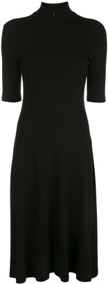 Rosetta Getty Cropped Sleeve Zip-Up Turtleneck Dress