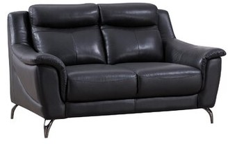 Orren Ellis Groveson Leather 70 inches Flared Arms Loveseat Fabric: Dark Tan Genuine Leather