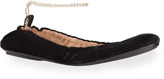 Gianvito Rossi Velvet Ankle-Chain Ballerina Flats