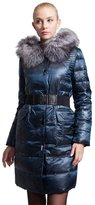 Basic Editions Women's Winter Long Slim Quilted Down Parka with Fox Fur Hood Jacket