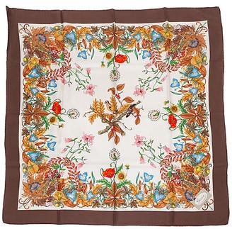 One Kings Lane Vintage Gucci Harvest Accornero Brown Silk Scarf - Vintage Lux