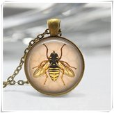 Flowers Bumblebee Honeybee Insect Entomology Art Pendant Bee Necklace