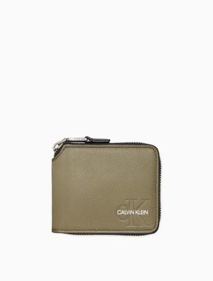 Calvin Klein Micro Pebble Monogram Logo Compact Zip Wallet