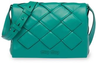 Miu Miu Woven Leather Shoulder Bag