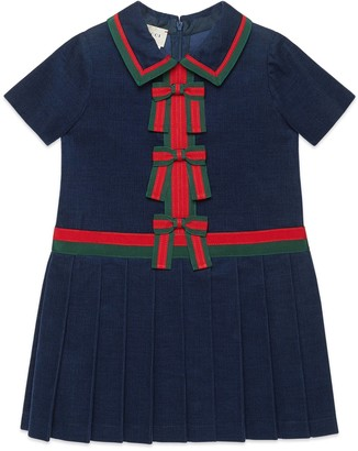 Gucci Children's corduroy dress with bows