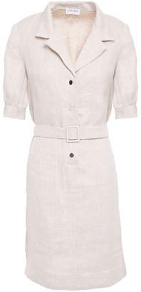 Claudie Pierlot Belted Linen Mini Dress