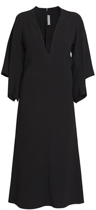 Victoria Beckham Deep V-Neck Drape-Sleeve Midi Dress