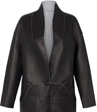 Columbus Reversible Coat Italian Black Leather