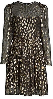Rebecca Taylor Women's Metallic Leopard-Print Long-Sleeve Dress