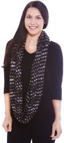 Simplicity Multicolored Infinity Scarf in Detailed Knit Pattern, Black-White
