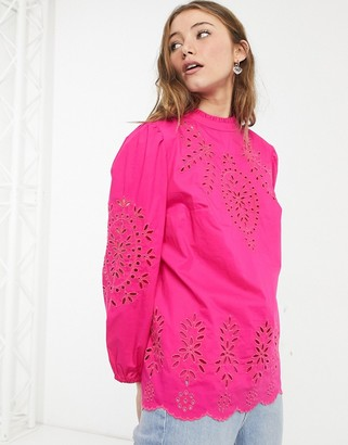 J.Crew J Crew high neck puff sleeve embroidered blouse in hot pink