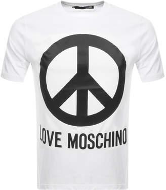 Moschino Love Peace Logo T Shirt White