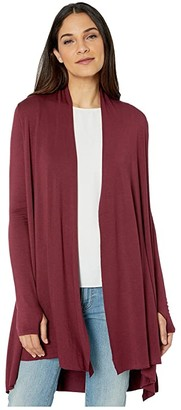 LAmade Iris Lightweight Modal Terry Cardigan with Thumbholes (Wineberry) Women's Sweater