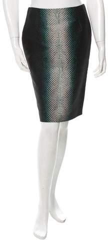 Cédric Charlier Snakeskin Print Pencil Skirt w/ Tags