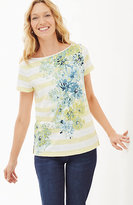 J. Jill Flowers & Stripes Tee