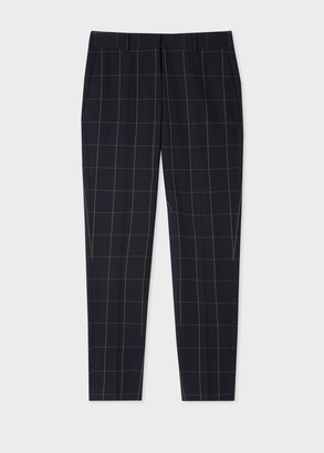 Paul Smith Women's Classic-Fit Dark Navy Windowpane Check Cotton Pants