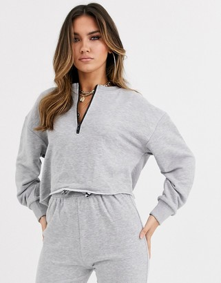 Public Desire crop sweatshirt co-ord-Grey