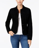 Charter Club Flocked Houndstooth Denim Jacket, Only at Macy's