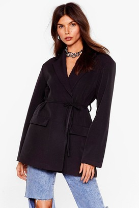 Nasty Gal Womens On Today's Agenda Belted Tailored Blazer - Black - 4