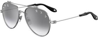 Givenchy Metal Aviator Sunglasses w/ Star Studs