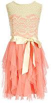 Rare Editions Big Girls 7-16 Lace-Mesh Cascade Dress