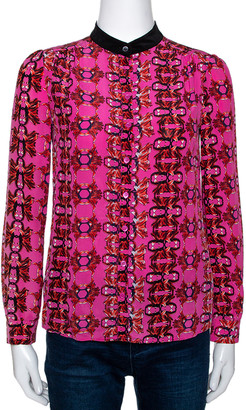 M Missoni Pink Printed Silk Button Front Shirt S