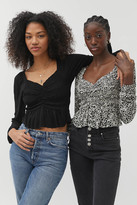 Urban Outfitters Shaina Rayon Ruched Long Sleeve Top