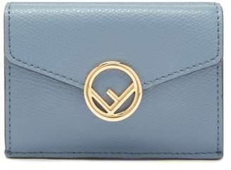 Fendi F-logo Leather Wallet - Womens - Blue