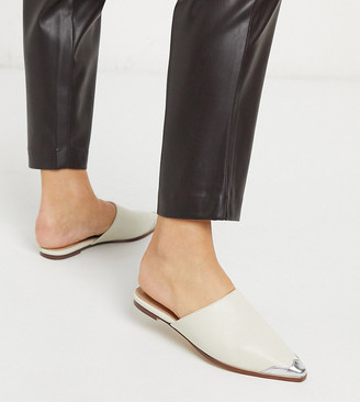 Co Wren Wide Fit western flat mules in cream with toe cap
