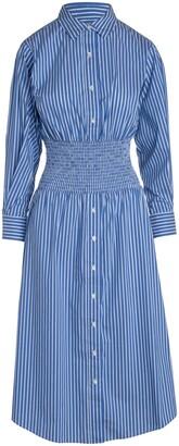 Stripe Smocked Waist Button-Up Long Sleeve Shirtdress