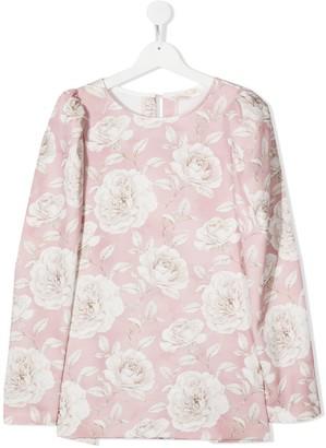 MonnaLisa TEEN floral print pleat detail blouse
