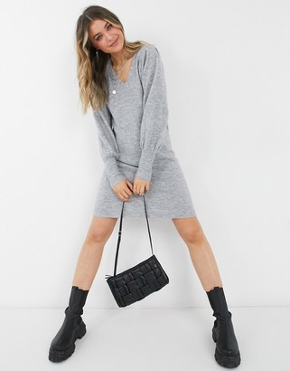 Pieces wool mix sweater dress with deep cuffs and v-neck in grey