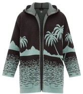 Alanui Point Dume Lands Intarsia-knitted Wool Cardigan - Mens - Grey Multi