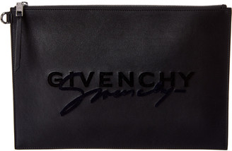 Givenchy Emblem Large Leather Pouch