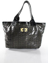 Marc by Marc Jacobs Gray Black Zipper Closure 4 Pocket Double Strap Tote Handbag