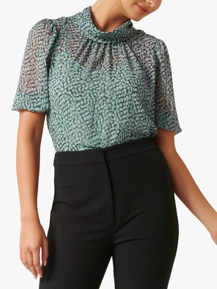 Forever New Logan Tie Blouse, Winter Speckle