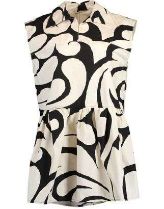 Marni Pearl Sleeveless Printed Peplum Tank