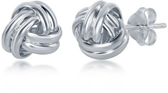 La Preciosa Sterling Silver Double Wire Love knot Stud Earrings - 9mm