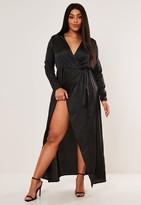 Missguided Plus Size Black Satin Wrap Maxi Dress