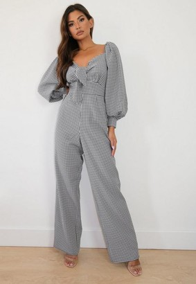 Missguided Black Gingham Long Sleeve Culotte Romper