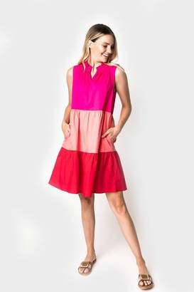 Gibson Flamingo Tiered Colorblock Dress (Ships 7/21)