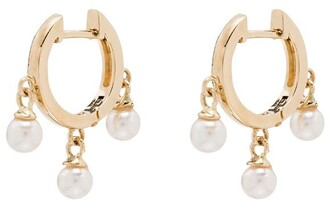 Mateo 14kt yellow gold Trio pearl huggie earrings