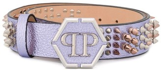 Philipp Plein Spike-Embellished Leather Belt
