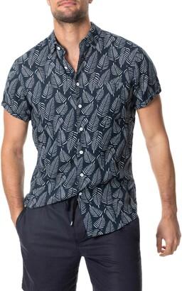 Rodd & Gunn Longview Leaf Print Short Sleeve Linen Button-Up Shirt