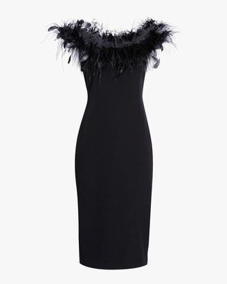 Badgley Mischka Feather Neckline Cocktail Dress