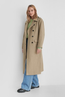 NA-KD Belted Long High Neck Coat